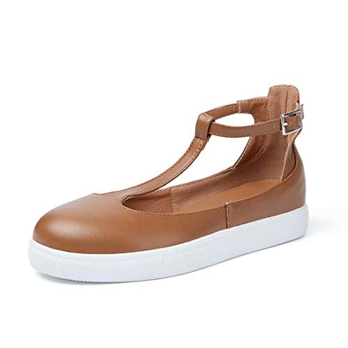 (KARKEIN Womens Mary Jane Flats Shoes T Strap Sneakers Casual Round Toe Loafers Buckle Leather Sandals Brown)