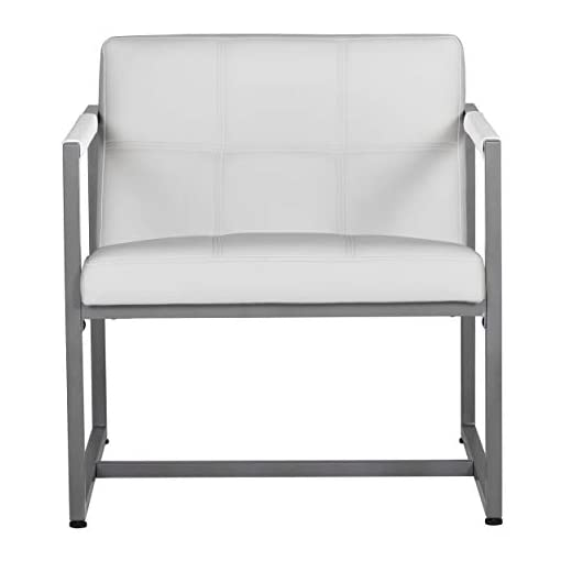Living Room Studio Designs Home Modern Accent Chair Camber Mid-Century, Pewter Grey Metal Frame & White Bonded Leather modern accent chairs