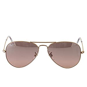 Ray-Ban AVIATOR LARGE METAL - GOLD Frame CRYS.BROWN-PINK SILVER MIRROR Lenses 55mm Non-Polarized