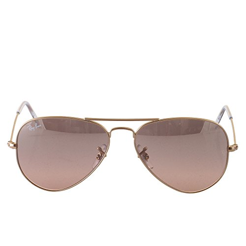 Ray-Ban AVIATOR LARGE METAL - GOLD Frame CRYS.BROWN-PINK SILVER MIRROR Lenses 55mm - Aviator Ray Mirrored Sunglasses Ban