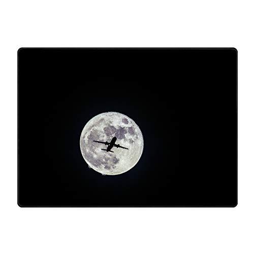 Area Rugs, Bedroom Livingroom Sittingroom Floor Rug Carpet Blanket for Children Play Home Decorate-Airplane Moon Flight Bw