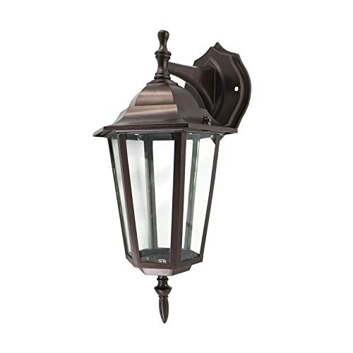 - IN HOME One-Light Outdoor Wall Down Lantern Fixture, Bronze Finish Cast Aluminum Housing with Clear Glass Shade, Waterproof Exterior Wall Lamp Light for Front Porch, Yard, Garage, ETL Listed