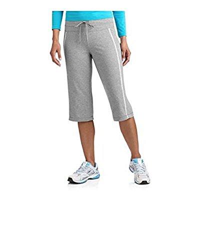 Danskin Now Women's Dri-More Core Striped Bermuda Below Knee Shorts Activewear (M, Gray)