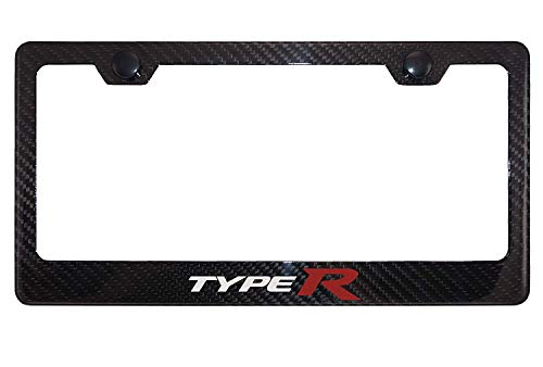 Qptimum TYPE R Civic Racing Carbon Fiber Stainless-Steel License Plate Frame Cover For Honda Civic (1)