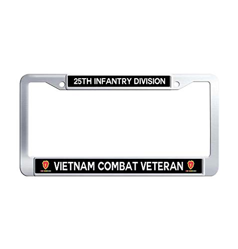 Division Vietnam Veteran License Plate - JiuzFrames 25th Infantry Division Vietnam Combat Veteran License Plate Frame, US Army Military Waterproof Stainless Steel Metal License Plate Frame Holder with Screw Caps