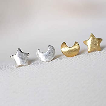 mismatched earrings Tiny Half Moon Star Sterling Silver Stud Earrings