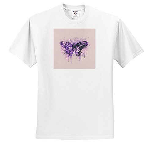 Andrea Haase Illustration Butterflies - Artistic Butterfly Mixed Media Illustration In Shades Of Pink and Purple - T-Shirts - White Infant Lap-Shoulder Tee (12M) - Of In Grey Butterfly Shades