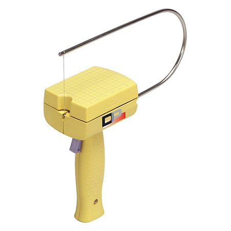 Battery-operated hot wire foam cutter on white background.
