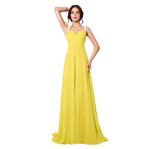 Belle House Women's Long Chiffon Prom Dresses Ruffle Party Gown Yellow