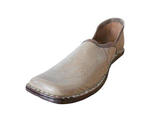 kalra Creations Hombre tradicional indio mojari Mocasines Piel Pisos, color Marrón, talla 41.5 EU