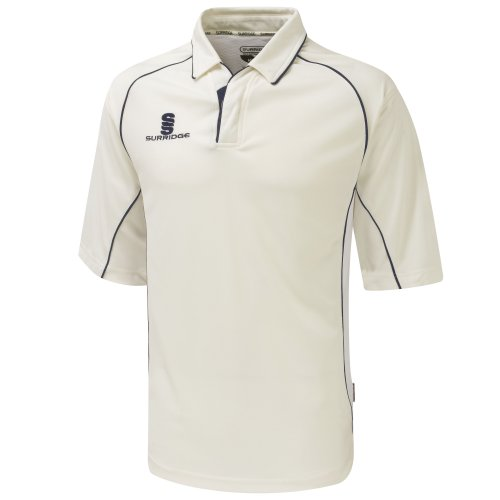 Surridge Big Boys Kids Sports Premier Shirt 3/4 Polo Shirt (MB) (White/Navy trim)
