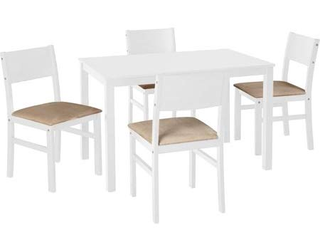 Amazon.com : Dinette Sets For Small Spaces-Dinning Room Table Set-Five Piece White Beige Microfiber Wood Rectangle Dining Set Bring Classic Beauty to Your ...