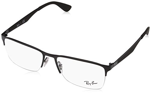 Ray-Ban RX6335 Rectangular Metal Eyeglass Frames, Matte Black/Demo Lens, 56 ()