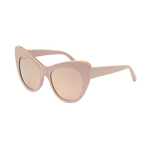 Stella McCartney Women's Chain Mirrored Cat Eye Sunglasses, Pink/Pink Gold, One Size by Stella McCartney