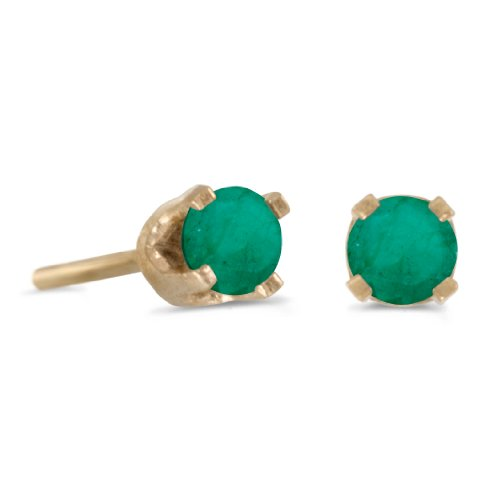 3-mm-Petite-Round-Genuine-Emerald-Stud-Earrings-in-14k-Yellow-Gold