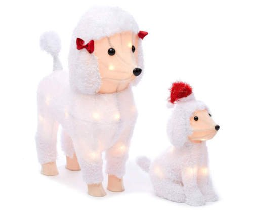 Set of 2 White Fuzzy Poodle Dog Figures Sculptures Outdoor Christmas Yard Lawn Decoration Seasonal Display