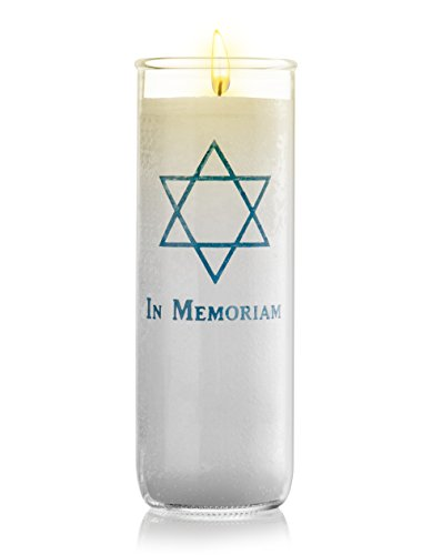 Memorial Candle Yartzeit Candle with Star of David in Glass - White Paraffin Wax Candle Burning Time 7 Days (7 -