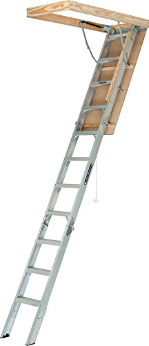 - Louisville Ladder AA2210 Elite Aluminum Attic Ladder, 375 Pound Load Capaci, 22-1/2 x 54