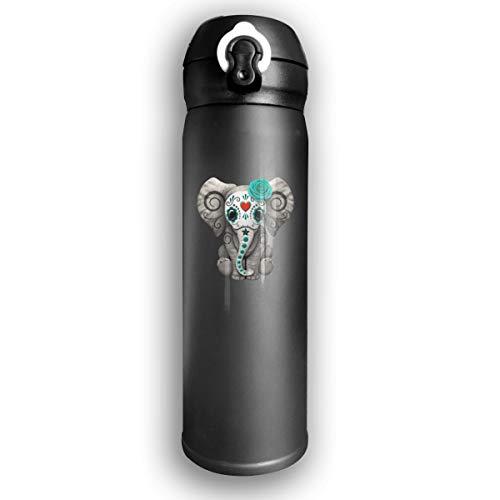 Elephant Sugar - Kocvbng I Blue Sugar Skull Elephant Insulated Vacuum 17oz Stainless Steel Water Mug for Camping