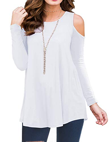 g Sleeve Off Shoulder Round Neck Casual Loose Top Blouse T-Shirt White-S ()