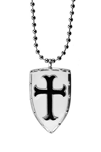 Pewter Medallion Pendant - exoticdream Knight Templar Shield Crusader Cross Medallion Medieval Amulet Defense Protection Pendant Necklace (Black with Ball Chain, 24)