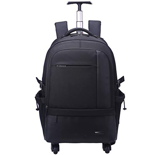 AOKING 21 Inch Water Resistant Travel School Business Rolling Wheeled Backpack with Laptop Compartment Bag, Carry On Luggage with Spinner Wheels (Black) ()