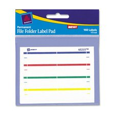 File Folder Label Pads,Permanent/Adhesive,1/3 Cut,160/PK,Ast, Sold as 1 Package, 160 Each per Package Avery Dennison Label Pads