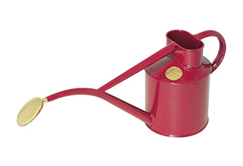(Haws Indoor Metal 2-Pint/1-Liter Watering Can with Rose and Gift Box, Burgundy )
