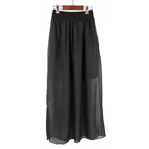 femmes mousseline de soie maxi jupe (chiffon maxi skirt) noir - black