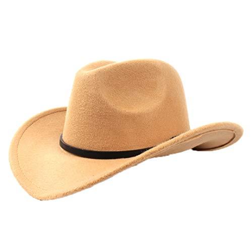Men's Faux Felt Western Cowboy Hat Classic Wide Brim Outback Hat Fedora Jazz Cap Khaki