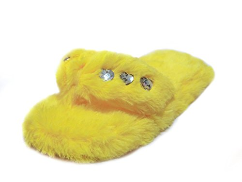 Slide Bejeweled (Onmygogo Girl's Bejeweled Flip Flops, Little Kid Fuzzy Indoor Princess Slippers, 3 Sizes (S-US Little Kid Size 10.5-12, Yellow))