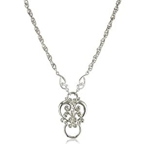 1928 Jewelry Silver-Tone Heart Eyeglass Holder Pendant Necklace, 28""