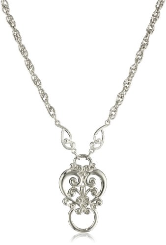 Necklace Glasses (1928 Jewelry Silver-Tone Heart Eyeglass Holder Pendant Necklace,)