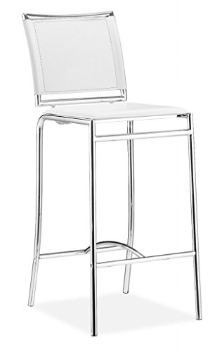 Modern Contemporary Bar Stool Chair, White Leatherette Chrome Steel (set of two) ()