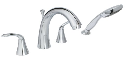 40-01 8-Inch - 16-Inch Builders 2-Handle Deck-Mount Roman Tub Faucet with Hand Shower, Chrome (Chrome 2 Hand Tub Faucet)