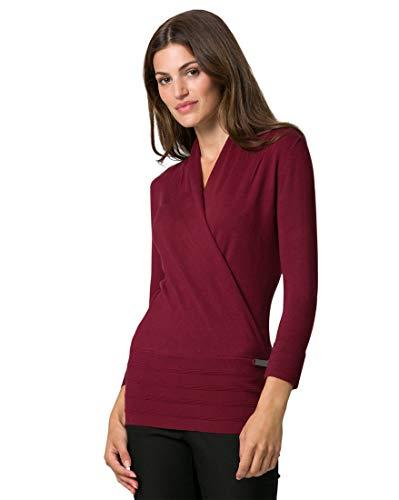 LE CHÂTEAU Viscose Blend Faux Wrap Sweater,XXS,Brown/Smoke