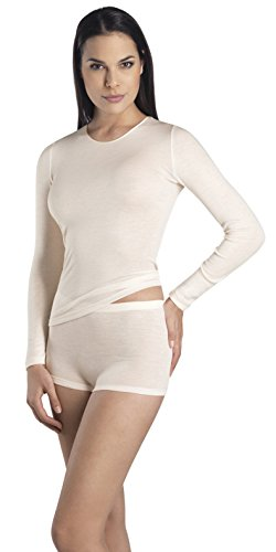- HANRO Women's Woolen Silk W Long Sleeve Shirt 71409, Cygne, Medium