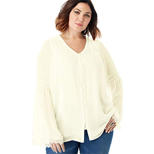Roamans Women's Plus Size Chiffon Bell Sleeve Top with Lace - Ivory, 18 W (Jeans Flared Roamans)