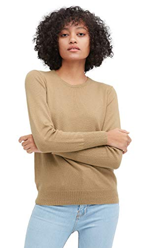 (LilySilk Women's Knit Tan Silk Sweater Cashmere Blend Soft, Crewneck, Long Sleeve, Pullover, Solid Medium)