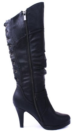 Page65 Fashion Slouch Lace-Up Back Platform Knee High Mid Heel Boots Black vOBle
