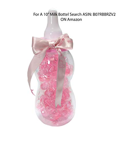 13.5'' inch Plastic Milk Bottle - Baby Shower Game, Fillable Baby Shower Bank Plastic Decoration Centerpiece (Pink) by LACrafts (Image #4)
