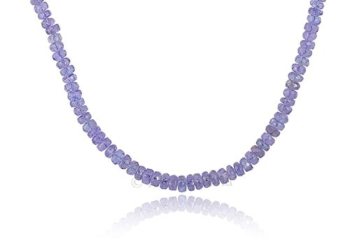 (Natural Tanzanite Faceted rondelle Beads Strand Necklace, 16