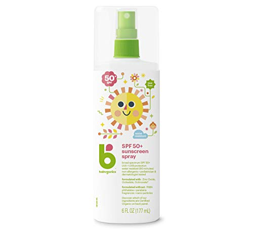 Babyganics Baby Sunscreen Spray, SPF 50, Spray Bottle, 6 Fl Oz, Pack of 2