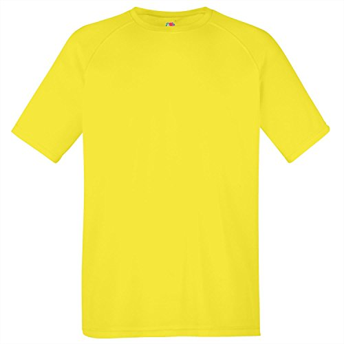 Yellow Bright T-shirt (Fruit of the Loom Mens Performance T-Shirt - Available in - Bright Yellow - 2XL)