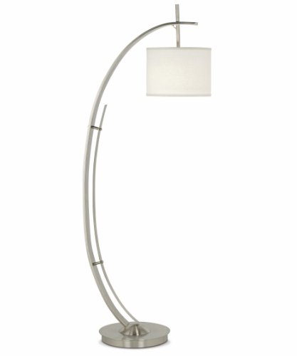 (Pacific Coast Lighting 85-2495-99 Vertigo Arc 65-Inch Floor Lamp with Brushed Nickel/Brushed Steel Finish and White Fabric)