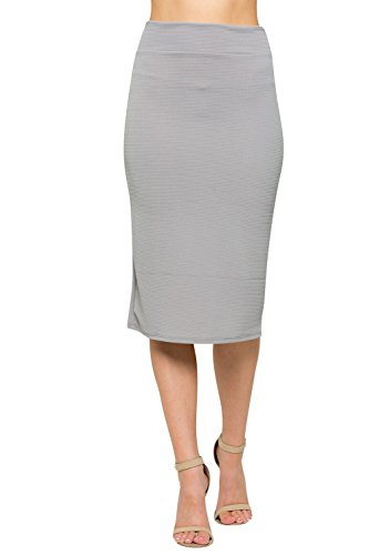 Junky Closet Women's Comfort Stretch Pencil Midi Skirt (Small, 2936S Grey)
