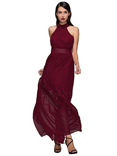 Plunge Halter Gown (PERSUN Women's Elegant Halter Plunge Tie Waist Ruched Formal Party Maxi Dress,Red,Large)
