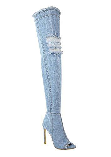 Strappati Toe Mode Cielo Sopra Jeans Coscia Scarpe Peep Ginocchio Blu Donna Minetom Denim Stivali Alti Autunno Boots RqWTOz