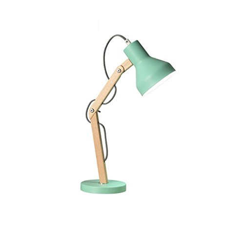 DGF Nordic LED Desk Lamp, Simple Solid Wood Lamp Body, Foldable, Wrought Iron Shade, Study Room Reading Desk Lamp FGD ( Color : Green , Size : S )