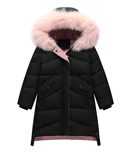 Girls Hooded Puffer Jacket (IRELIA Girls Fur Hooded Parka Puffer Down Jacket Coat Black M)